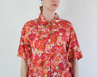 SALE - Vintage 80s Bright Pink Red Roses Floral Print Shirt