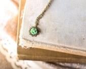 Filigree Flower Necklace,  Rose Flower, Fern Green Cabochon, Little Girls Necklace, Princess Choker Necklace