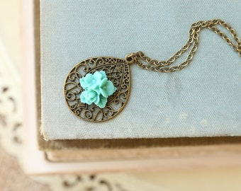 Filigree Drop Necklace, Turquoise Flower, Morrocan Necklace, Boho, Bohemian Flower Necklace, Teardrop Necklace