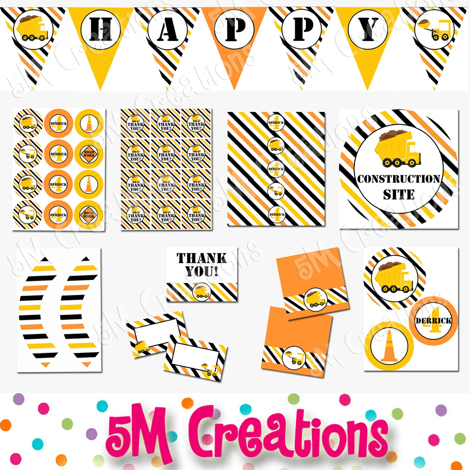 Construction Birthday Party Printable Decorations Package