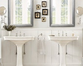 """ANY COLOR - Brushed Nickel Modern Bathroom Mirror Framed Vanity Mirror Wall 29""""x25"""" Silver  Modern Design Mirror Unique Mirror Rectangle"""
