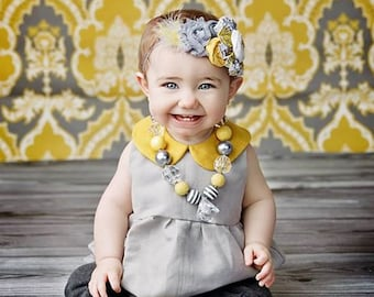 Sing-Song- chiffon and rosette headband in yellow grey and white