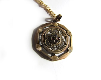 Antique Gold Filled Pendant With Red Stones c.1910