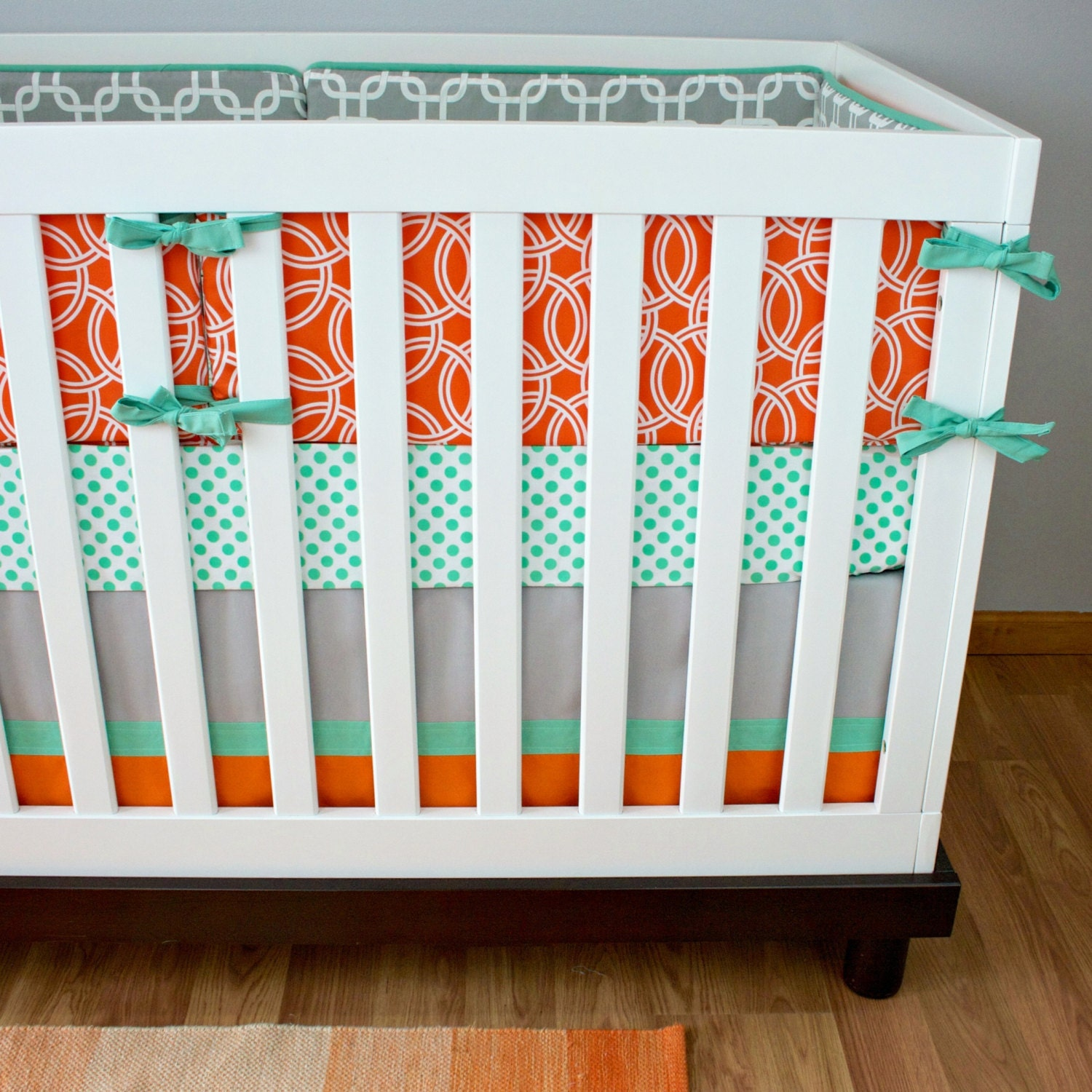 mint orange gray baby bedding nursery bedding circle chain - 🔎zoom