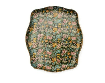 Floral Paper Mache Chintz Serving Tray