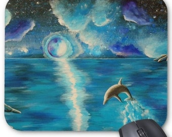 Mousepad Mouse Pad Fine Art Painting Water Dance Turquoise Dolphin Ocean Water Aqua Night Sky Stars Moon Starry Blue