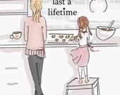 Little Memories-  Family Wall Art Print -Baking Cookies Wall Art -  Digital Art Print -  Wall Art -- Print