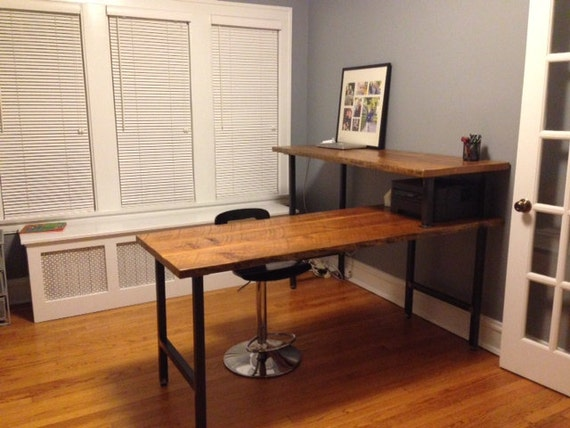 Standing L Shape Desk Made Of Reclaimed Wood Custom And