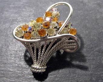 Rhinestone Flower Basket Pin VINTAGE Yellow RHINESTONES Topaz Yellow Aurora Borealis Rhinestones Ready to Wear Vintage Jewelry (T8)