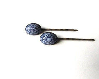 Navy Blue and White Bobby Pins, Geometric Nordic Style Oval