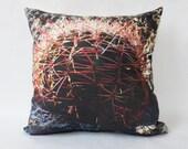 Decorative Pillow with Cactus Photograph Printed Cotton