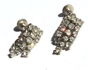 Vintage Rhinestone Earrings Wedding Bridal Vintage Jewelry