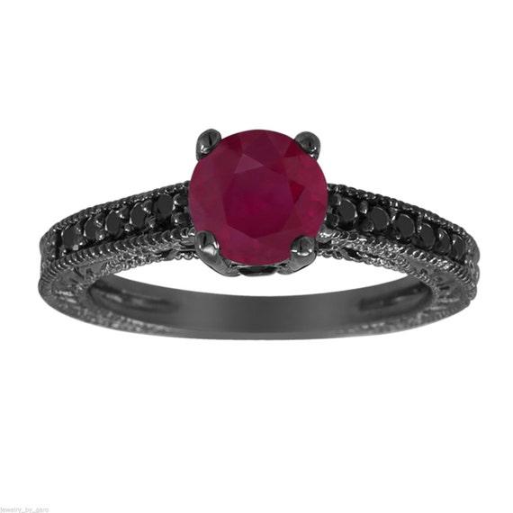 Ruby & Fancy Black Diamonds Engagement Ring Vintage Style 14K