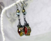 14 DOLLAR SALE Rustic Beaded Earrings - Rustic Assemblage Earrings - Red Drops in Vintage Striped Tin - Encased Wire, Aquamarine