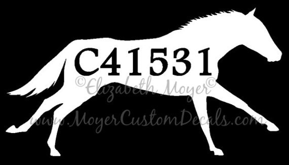 Ottb off track thoroughbred custom tattoo number decal sticker for Thoroughbred tattoo lookup