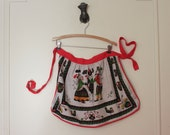 vintage 1960s Pennsylvania Dutch Linen Half Apron - for baking Christmas Cookies & Sweet Treats - with roosters and hearts and tulips, oh my