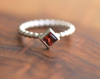 Genuine 4mm Square Cut Gemstone Ring with 14k Sterling Silver Beaded Ball Band -  Original Statement Ring By Pale Fish NY