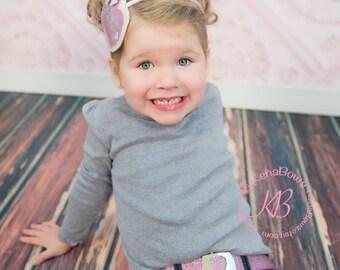 Pink Glitter Headband and Pink Glitter Child Belt: Pink, Silver, White, Love, Glitter, Girl