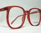 Vintage 80s Oversized Square Horn Rim Eyeglass Frames. Brown Translucent
