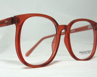 Vintage 80s Oversized Square Horn Rim Eyeglass Frames. Brown Translucent