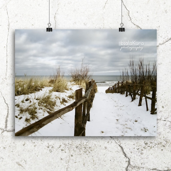 beach path, seascape photography, seaside beach photo, 8x12 print, winter snow, seaside bathroom decor, ocean blue photography, brown, white