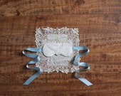 Silk 'Grace' Bridal Sleep Mask Blindfold with Venice Lace in Ivory and Blue Handmade Heirloom