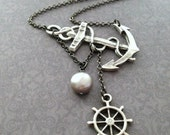 Lost at Sea Necklace by SBC Silver Plated Anchor, Ship Wheel, AAA Platinum Silver Baroque FW Pearl, Nautical Necklace, Sideways Anchor