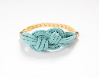 Turquoise Knot Bracelet / Sailor Knot Bracelet / Suede Cord / Nautical Jewelry / Jewelry Under 50 / Gifts For Her / Bridesmaids Gift