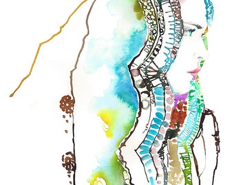 Original Watercolor Fashion Illustration by Cate Parr. Titled: New Veil