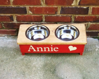 Dog bowl feeder with a heart  Extra Small  Personalized Two tone 4 inch tall Stained top Painted bottom