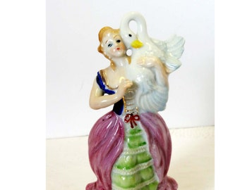 Victorian Lady Holding a Goose Blonde Hair Pink, Green & Blue Gold Leaf Porcelain Victorian Figurine Home and Garden Collectibles Figurines