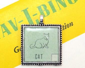 Cat Auto Car Bingo Pendant Necklace Vintage 1950s Image Key Ring