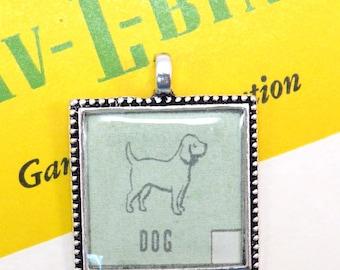 Dog Auto Car Bingo Pendant Necklace Retro 1950s Animal Image key Ring