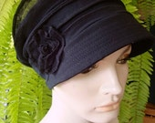 Womens chemo cap summer or winter Black Peak Cap Newsboy Chemo Headwear Soft Hat for Hairloss With Flower