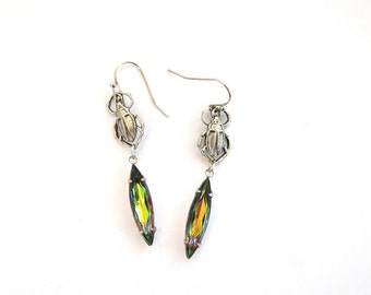 vitrail scarab earrings . vitrail glass navette drop rhinestone beetle jewelry