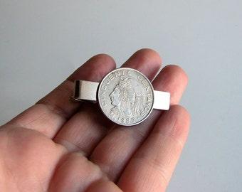1980 Mexico coin tie bar . Mexican coin tie clip