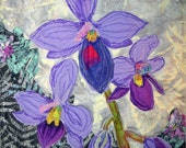 Purple Orchid Textile Art Wall Hanging Pastels and Purples Contemporary OOAK Original