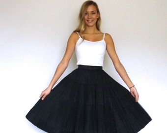 50s Black Micro Pleated Full Circle Skirt xxs