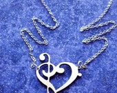 Treble and Bass Clef Heart Charm Necklace or Pendant