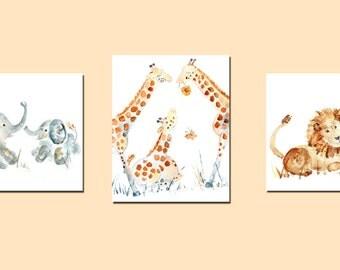 Safari Nursery Art, Set of 3 Prints, Jungle Nursery Art, Animal Nursery Prints, Nursery Decor, baby boy art, lions, elephants, giraffes