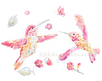 Baby girl nursery art, Hummingbird Print, Bird Nursery, Pink Nursery Art, bird watercolor print, hummingbird art, girl's nursery wall art