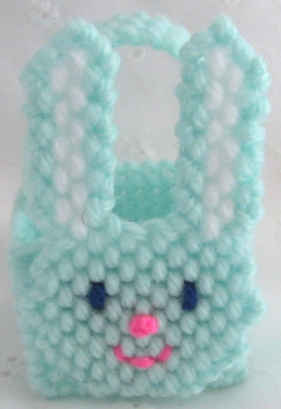 Plastic Canvas Bunny Basket Pale Green Easter