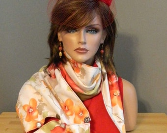 Handmade Scarf - Infinity Style - Floral Microsuede - Red Microsuede