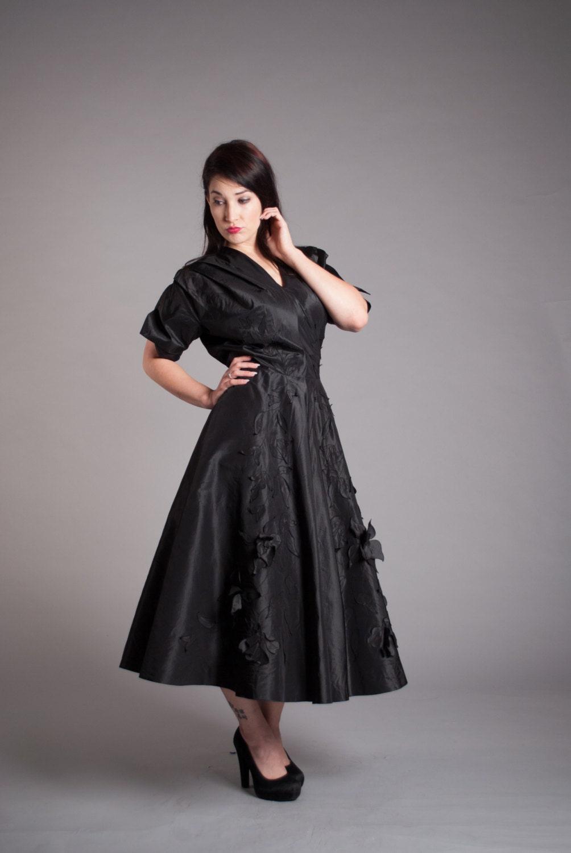 1940s Dress Silky Stars Vintage 40s Dress: Vintage 1940s Silk Dress 40s Party Dress Eta Hentz Dress