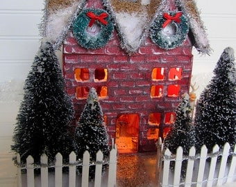 Lighted Victorian Christmas House With Vintage Reindeer and Picket Fence