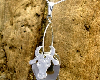 Cow Necklace, Cow Pendant, Cow Jewellery, Cattle, Bulls, Animal Gifts, Farm Animal Jewellery, Cow Gifts.