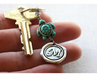 Summer Party Lucky Turtle Keychain Personalized Keychain boyfriend gift Custom Turquoise Dad Keychain Monogram Keychain Wax Seal Women Gift