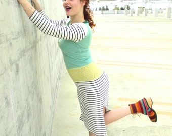 Women Tshirt Dress Recycled Clothing Reconstructed Handmade Soft Knit Eco Friendly Stripes Green Blue Beige Yellow Fun Print M Upcycled