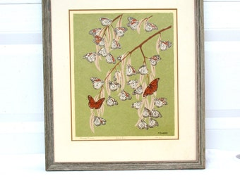 Vintage Original Print Artwork Midcentury Nature Branches Butterflies 1960 60s Art Print Arts and Craft Style