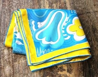 Vintage VERA 1960s/70s Floral Square Scarf - Yellow Blue Silk Scarf // DIVINE